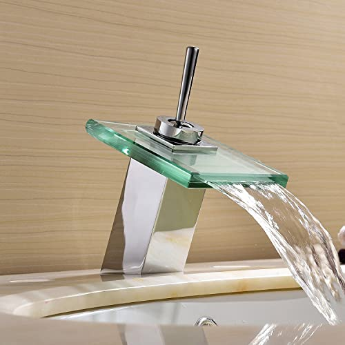 Single Handle Waterfall Bathroom Vanity Sink Faucet Rectangular Spout Bathtub Faucets Chrome Lavatory Widespread Bath Tub Mixer Taps Single Hole Bath Shower Faucets Glass Spout Single Hole Faucets