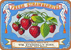 Anjoes Vintage Retro 8x12 Sign 1868 Fresh Strawberries Berries Funny Fruits Vegetables Food Sweet Summer Wall Decor Home Decor Novlety Tin Metal Sign