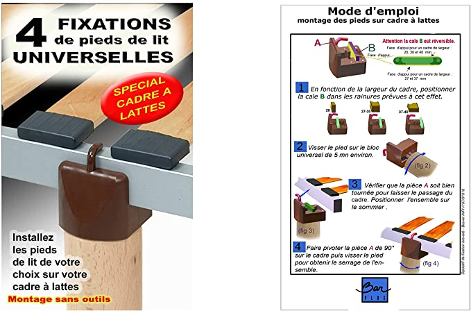 COMPAGNIA DE MADERA BLISTER 4 Piezas Adaptador Somier de láminas