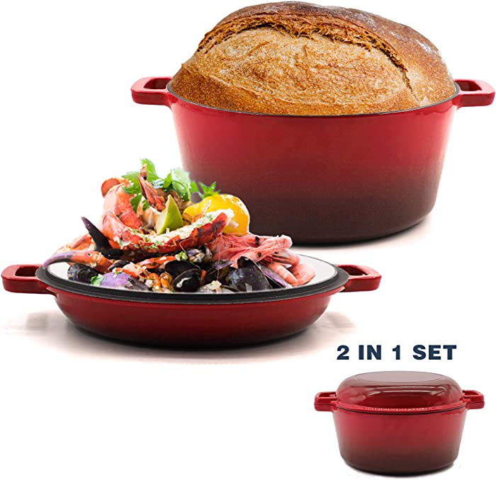2-in-1 Enameled Cast Iron Multi-Cooker,5.5-Quart Dutch Oven Set with 10 Inch Skillet Lid,Grill, Stovetop, Induction Safe,Cherry (Cherry)