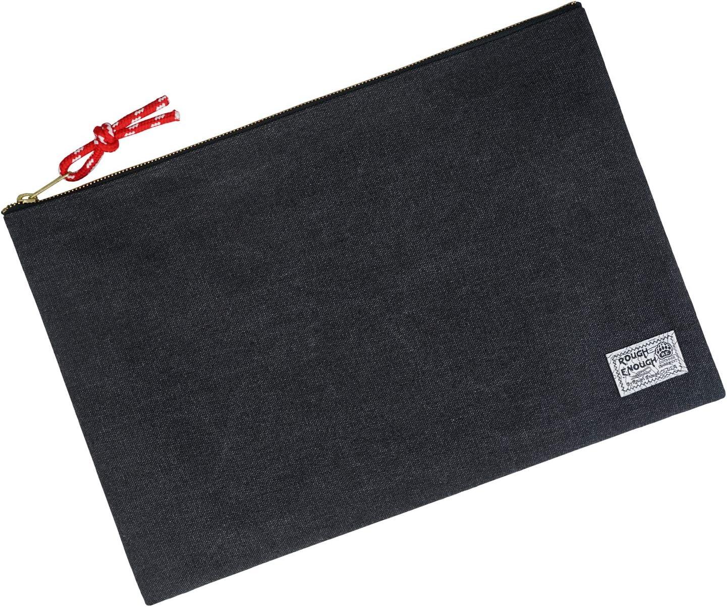Rough Enough Large File Folders Holder Document Safe Organizer Canvas Zipper Pouch for Filing Important Legal of Travel Portfolio A4 Manila Letter Size Art Paperwork Office School Pocket Big Bag Pouch