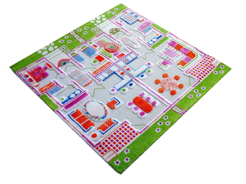 Little Helper IVI–Alfombra Epais en relieve 3d Design de las Casas de juego, 134x 180cm BC/TWINHOUSES-134180FR