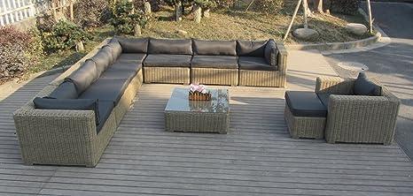XXL rotin rundgefl véritable Salon de jardin king de jardin: Amazon ...