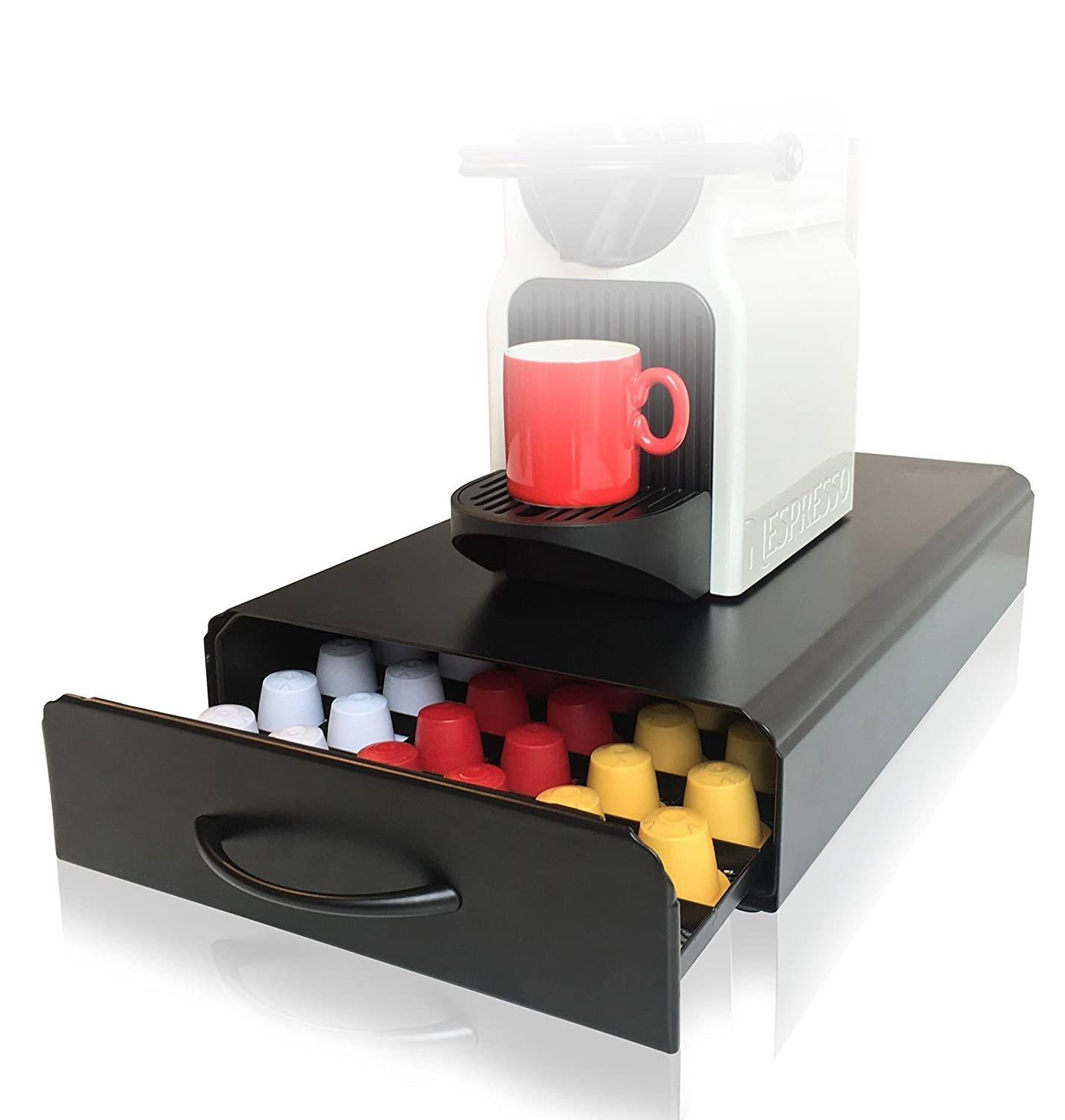 CAFE CONCETTO - Nespresso Capsule Holder - 60pcs - Pod Storage Drawer & Coffee Machine Stand - Perfect for the Inissia, Essenza Mini, Citiz, Pixie, Lattissima & More (Metal/Black)