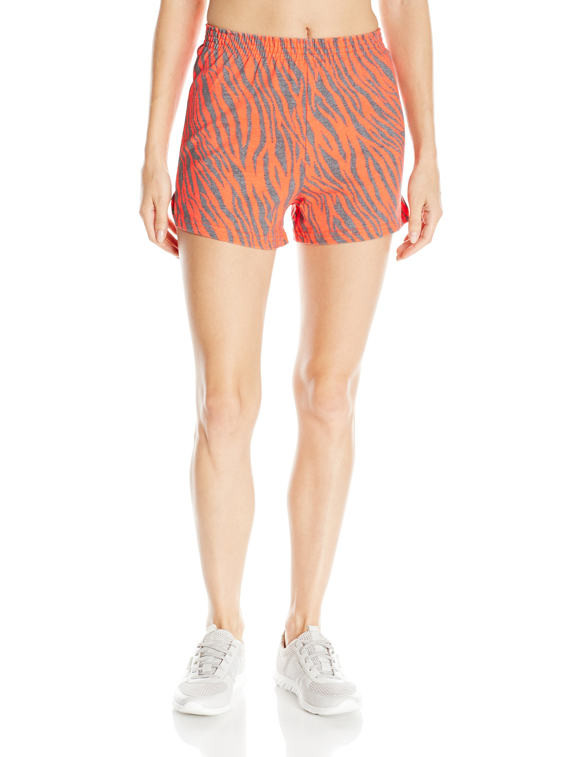Soffe Women's Jr Printed Short Cctn, Fiery Coral/Zebra, Small by Soffe