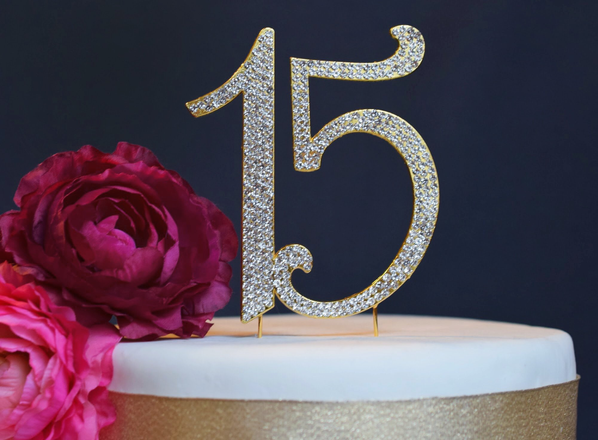 15 GOLD Quinceañera Cake Topper | Premium Sparkly Crystal Rhinestones | 15th Birthday or Anniversary Party Decoration Ideas | Quality Metal Alloy | Perfect Keepsake (15 Gold)