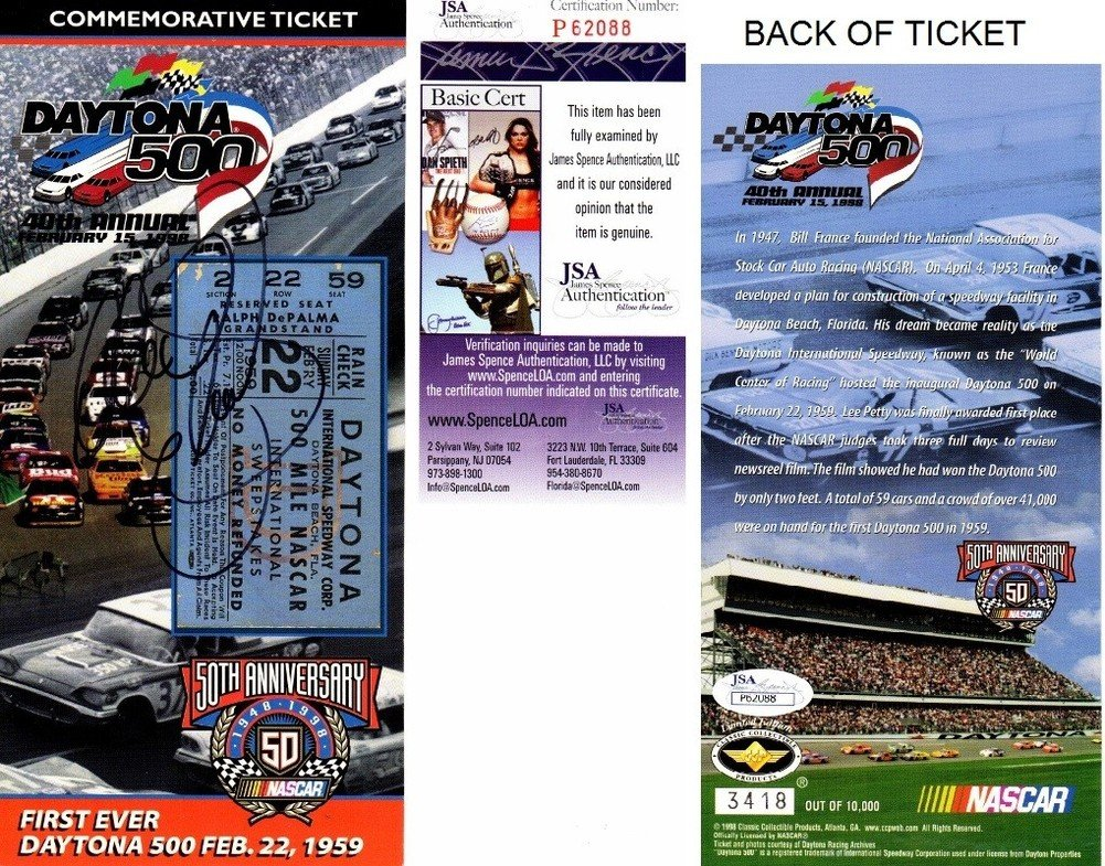 Dale Earnhardt Sr. Autographed Signed Daytona 500 40th Annual/Nascar 50th Anniversary 4 x 8.5 Inch Commemorative Ticket Deceased 2001 JSA Authentic