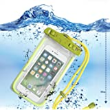 YOLO IPx8 100% Water Snow Dust Proof Touch Sensitive Transparent Universal Pouch Cover for All Smartphones Mobile Phones in Neon Green made with Eco Friendly Plastic