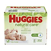 HUGGIES Natural Care Unscented Baby Wipes, Sensitive, 2 Refill Packs, 352 Count Total