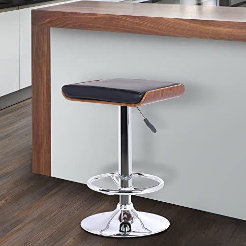 Armen Living Java Barstool in Black Faux Leather, Walnut Wood and Chrome Finish