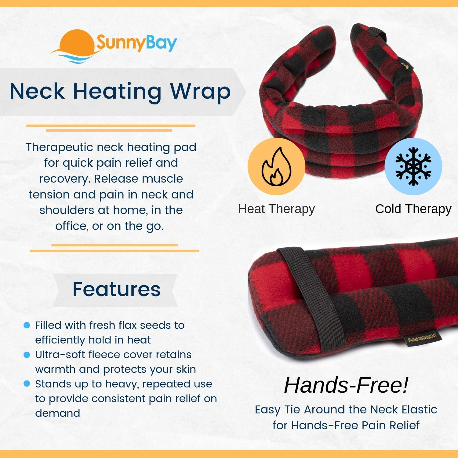 Hands-Free Neck Heating Wrap: Resusable Heating Pad for Neck and Shoulders - Microwavable Thermal Pad - Easy Strap for Therapy - Large Heating Pad for Shoulder Pain & Neck Relief (London): Health & Personal Care