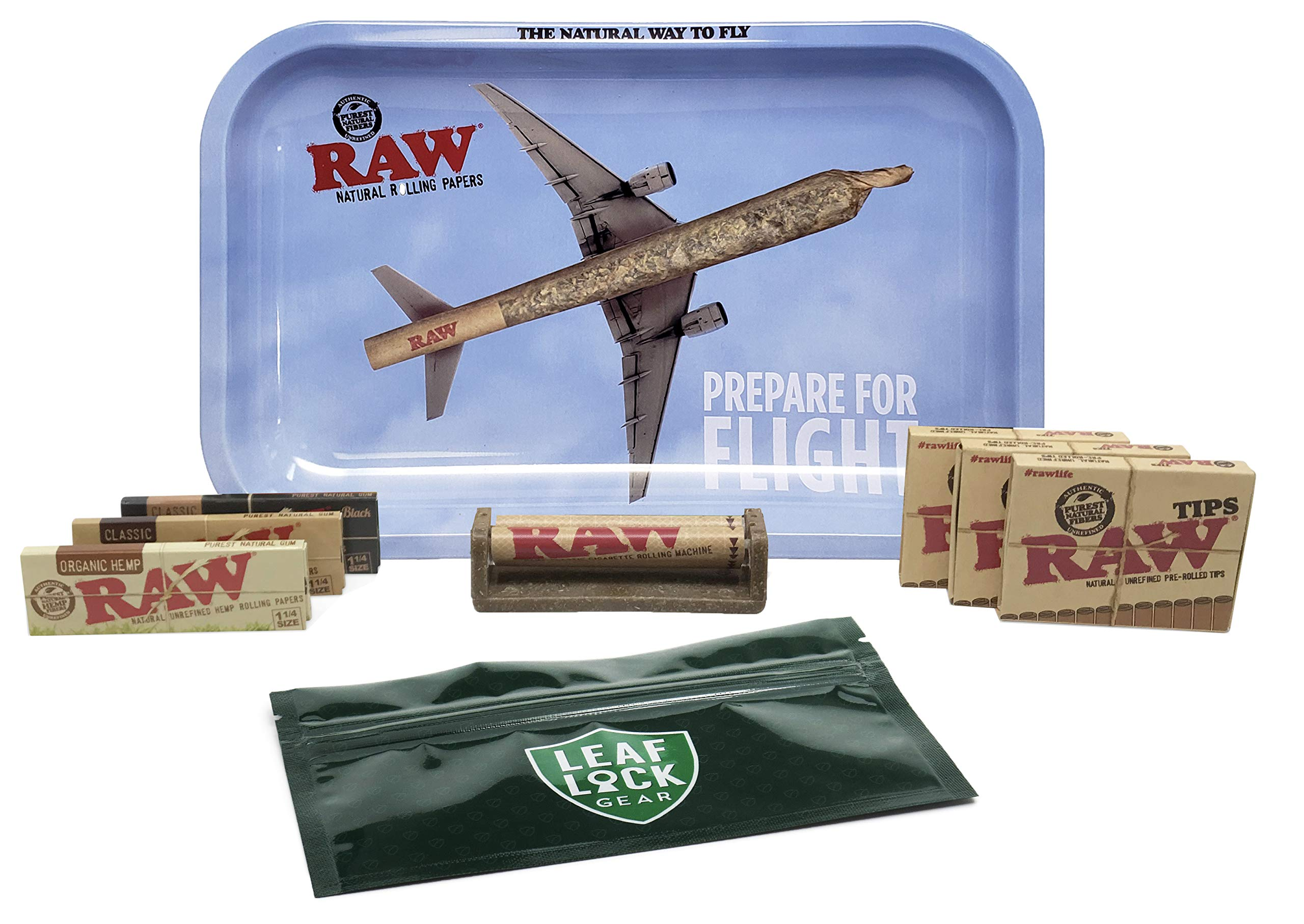 RAW Rolling Tray Small''Take Flight'', RAW 1 1/4 Rolling Papers (Classic, Black, Organic), RAW Roller, Pre Rolled Tips (3 Packs), with Leaf Lock Gear Spill Proof Bag - 9 Item Bundle
