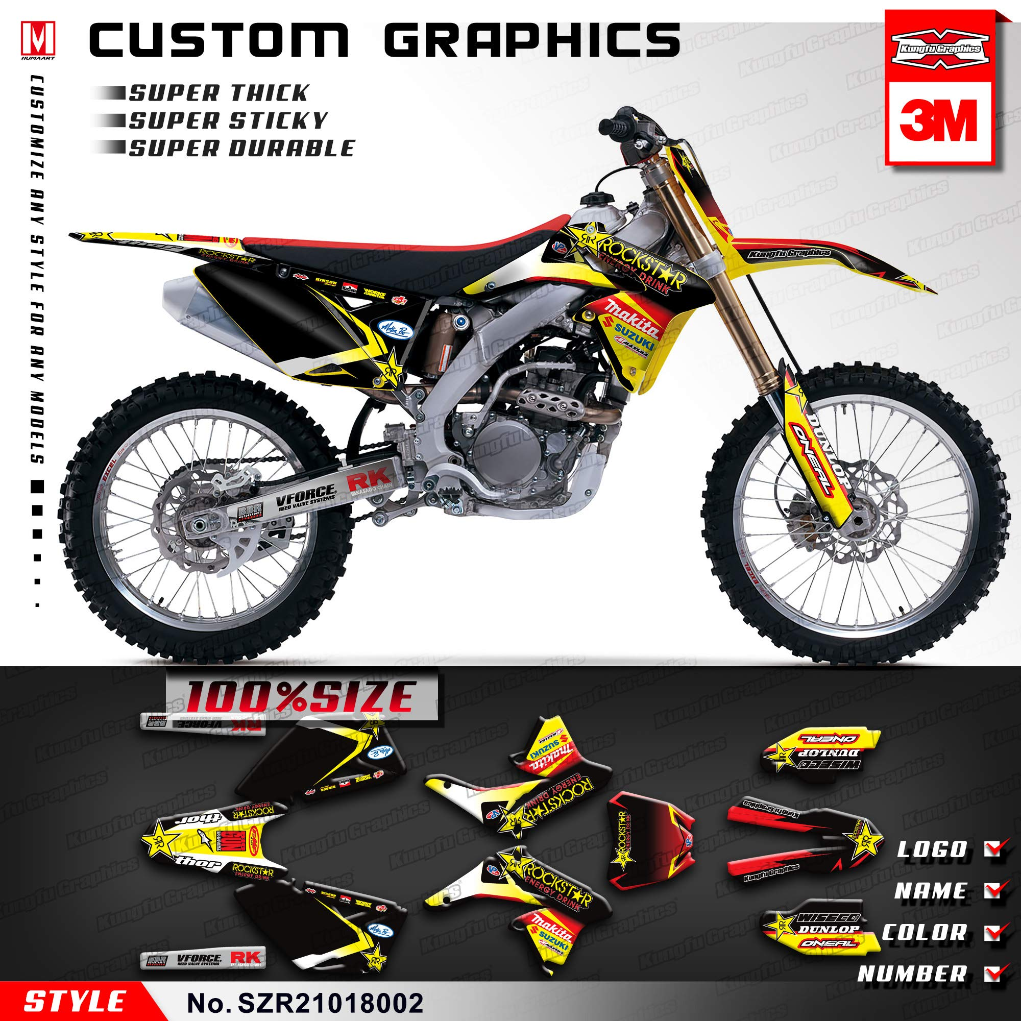 Kungfu Graphics Custom Decal Kit for Suzuki RMZ 250 2010 2011 2012 2013 2014 2015 2016 2017 2018, Black Yellow, SZR21018002