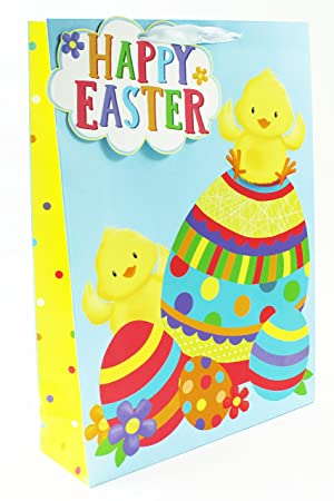 Happy easter gift bag extra large carrier cute kids chick eggs happy easter gift bag extra large carrier cute kids chick eggs present tag party negle Images