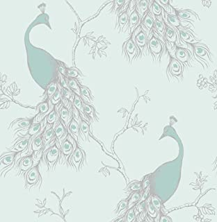 Chinoiserie Bird Wallpaper Duck Egg Blue Fine Decor FD40765