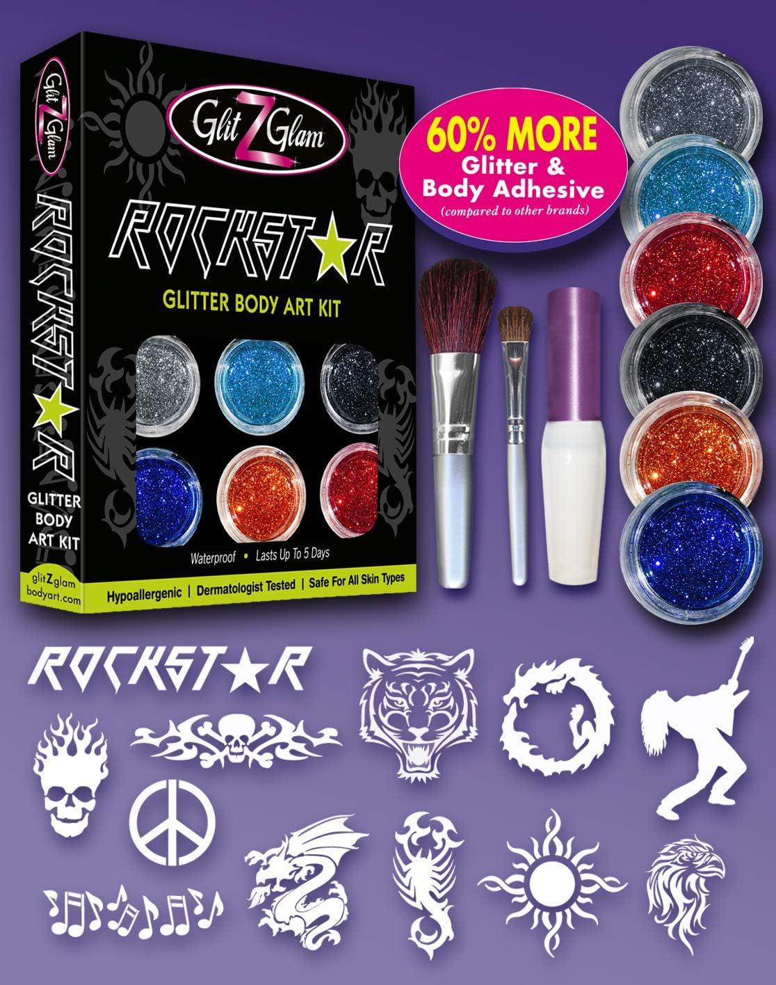Kit de Tatuajes de Brillantina - Rockstar con 6 brillantinas ...