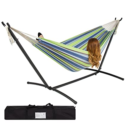 best choiceproducts double hammock with space saving steel stand includes portable carrying case amazon     best choiceproducts double hammock with space saving      rh   amazon