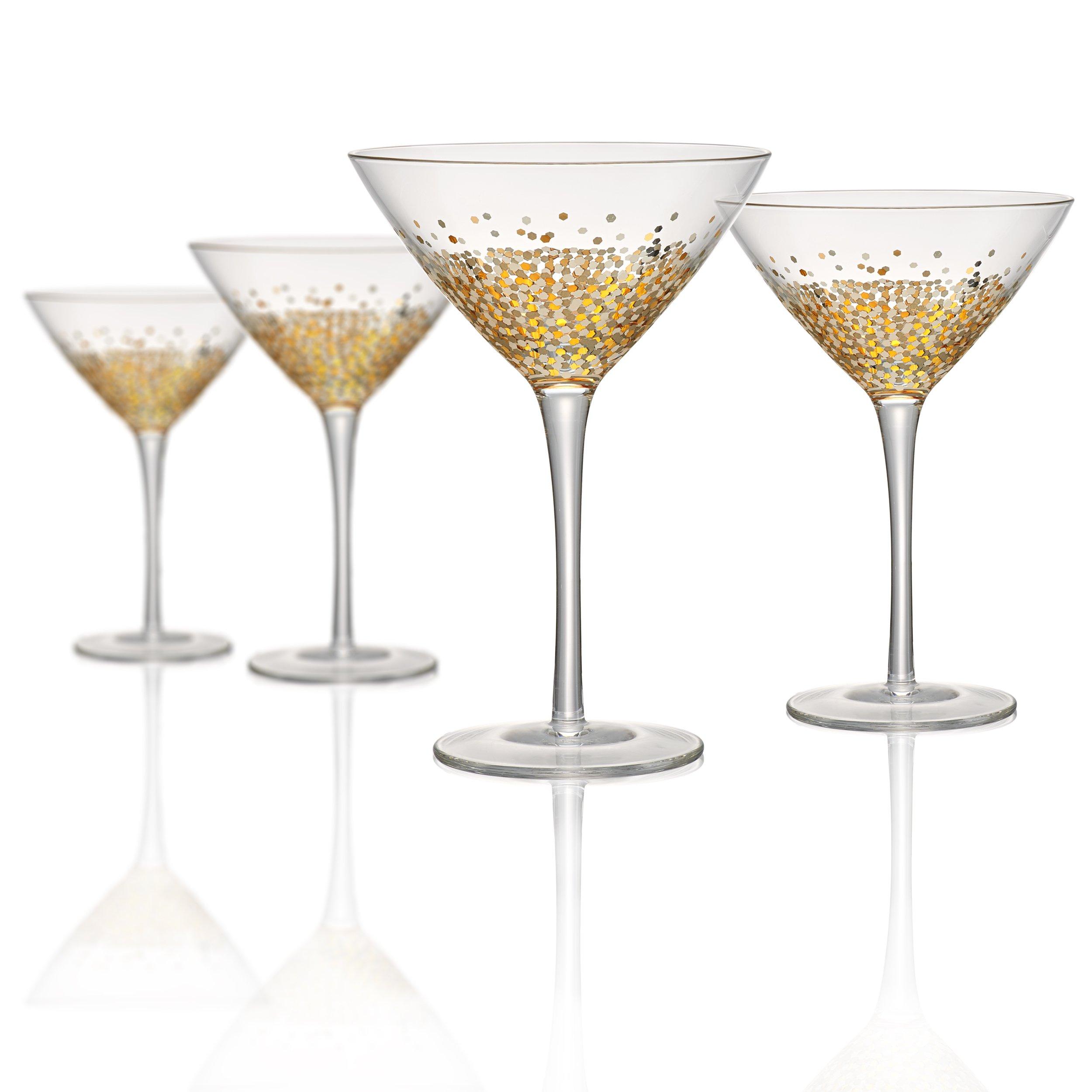 Artland Ambrosia martini 10 oz (Set of 4), Gold/Silver