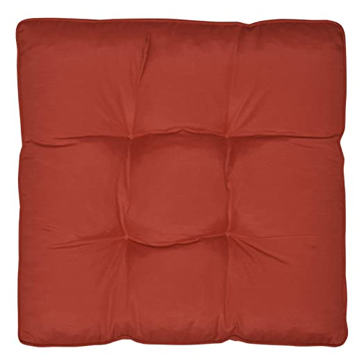 Waterproof Outdoor Chair Cushion Red 60 X 60 X 10 Cm Seat Pad Water  Resistant Cover