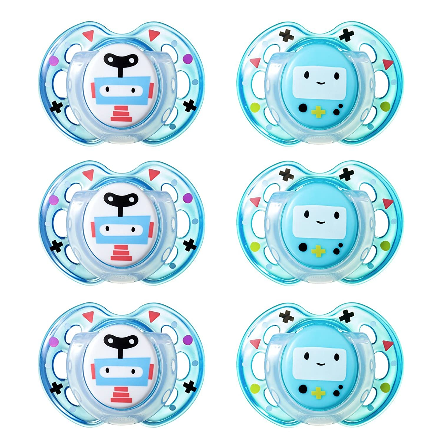 Tommee Tippee Closer to Nature Fun Style Orthodontic Baby Soothie Pacifier, 0-6 Months - Boy, 6 Pack