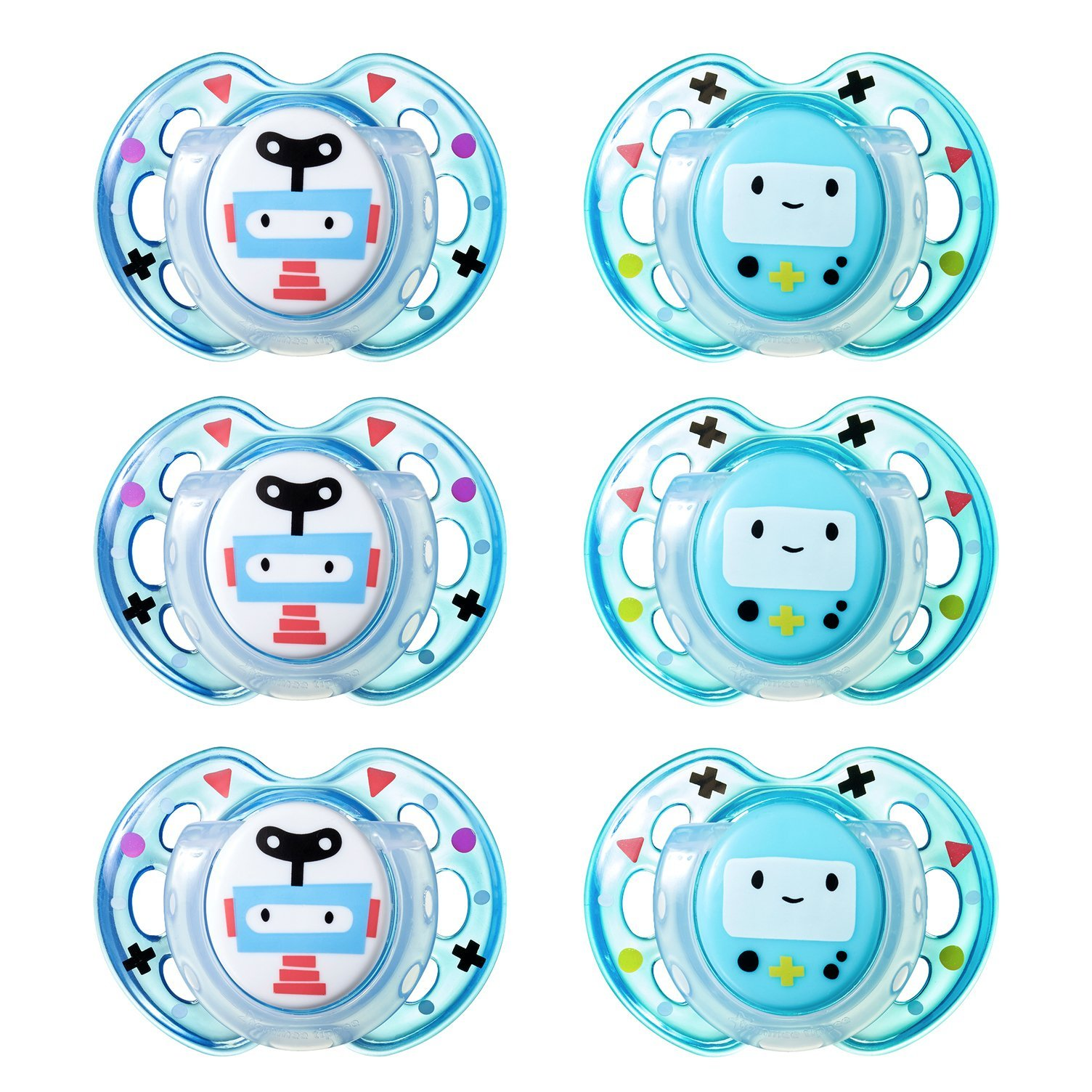 Tommee Tippee Closer to Nature Fun Style Orthodontic Baby Soothie Pacifier, 0-6 Months - Boy, 6 Pack by Tommee Tippee