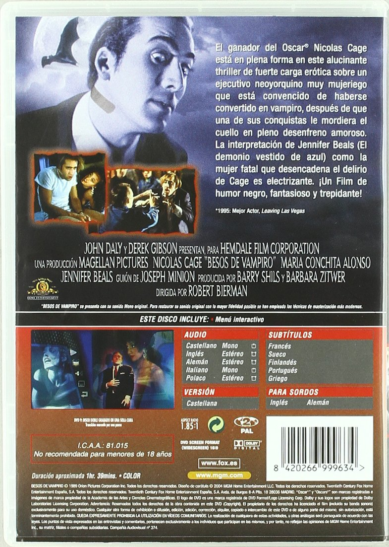 Amazon.com: Besos Del Vampiro (Import Movie) (European Format - Zone 2) (2004) Nicolas Cage; Maria Conchita Alonso; Jen: Movies & TV