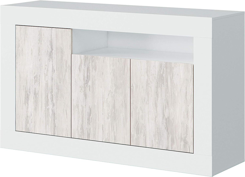 Habitdesign Aparador, Buffet, Modelo Baltik, Acabado en Color Blanco Artik y Blanco Velho, Medidas: 144 cm (Ancho) x 87 cm (Alto) x 42 cm (Fondo)