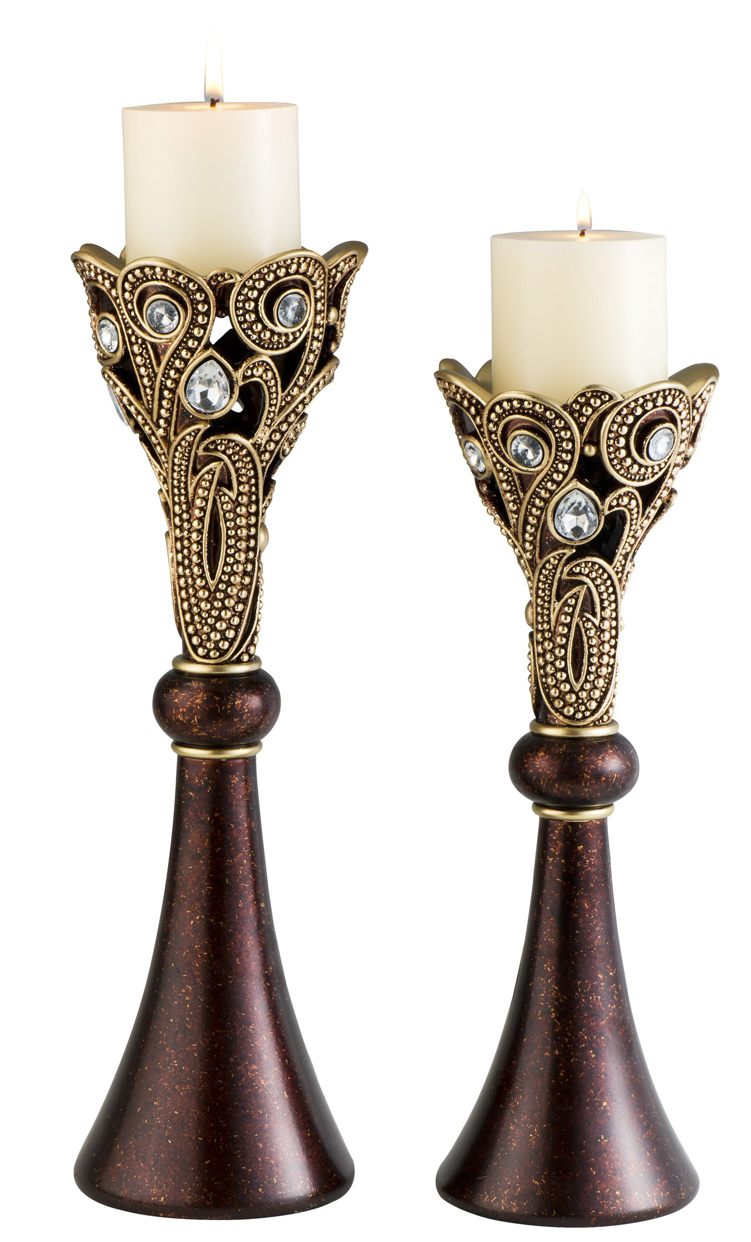 SINTECHNO SK-4272C Moselle Candle Holders (Set of 2), 14''/16''