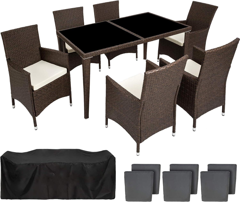 TecTake Conjunto muebles de Jardín en Poly Ratan Aluminio 6+1 + 2 ...
