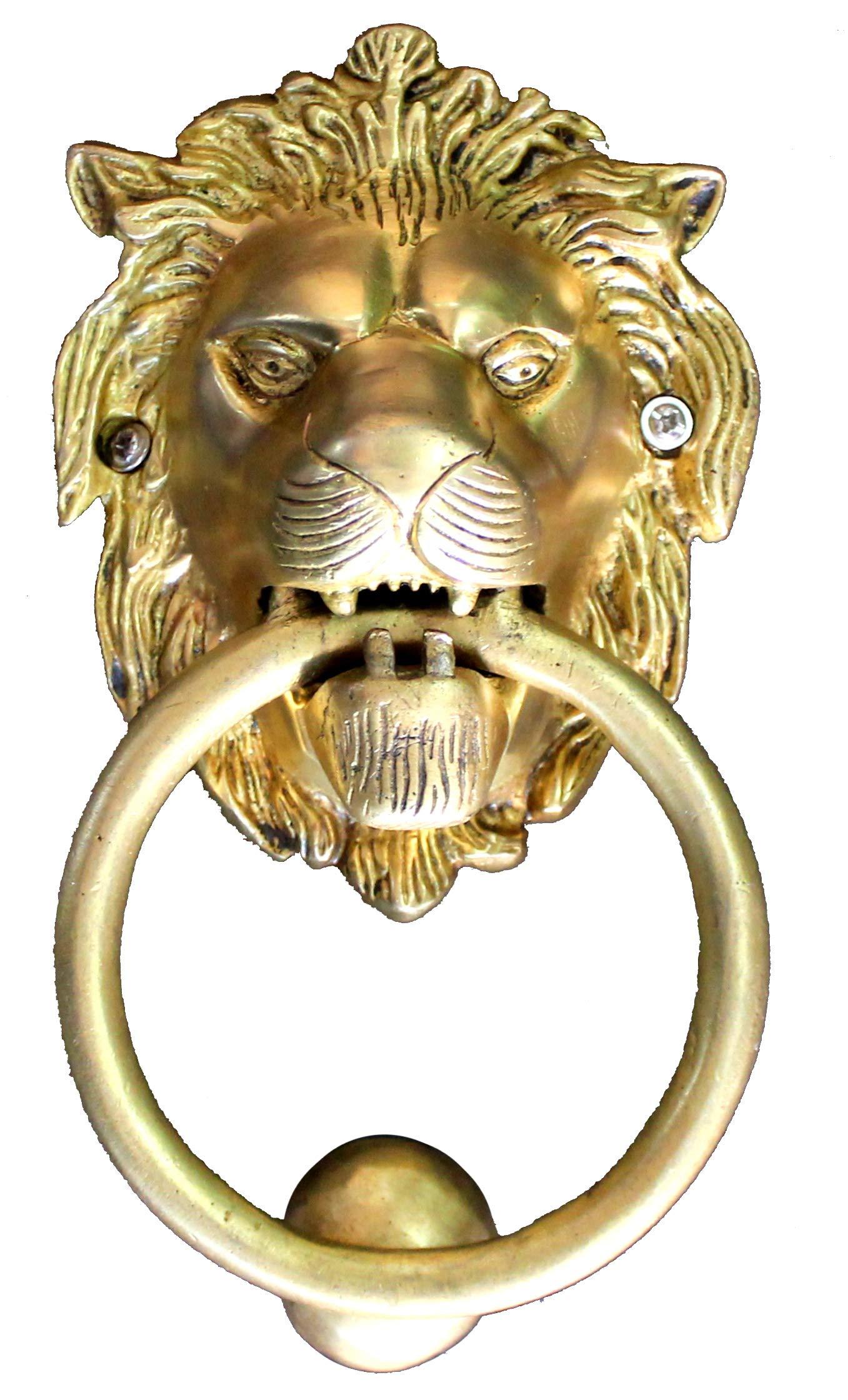 StonKraft Brass Lion Door Knocker Knockers Gate Knocker Door Accessories (Lion 5'')