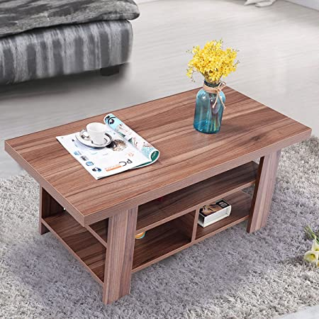 Giantex Rectangular Coffee Table for Living Room Wood-Like Surface with Storage Shelves, Walnut