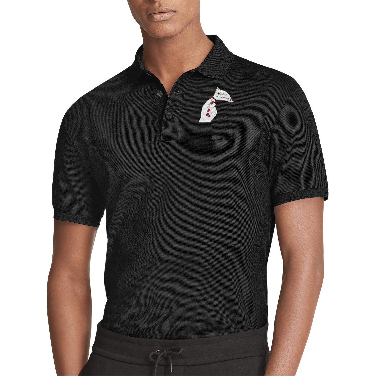 WYFEN Mens Printed Polo Shirt we Should be feministy Comfortable Short Sleeve Tee