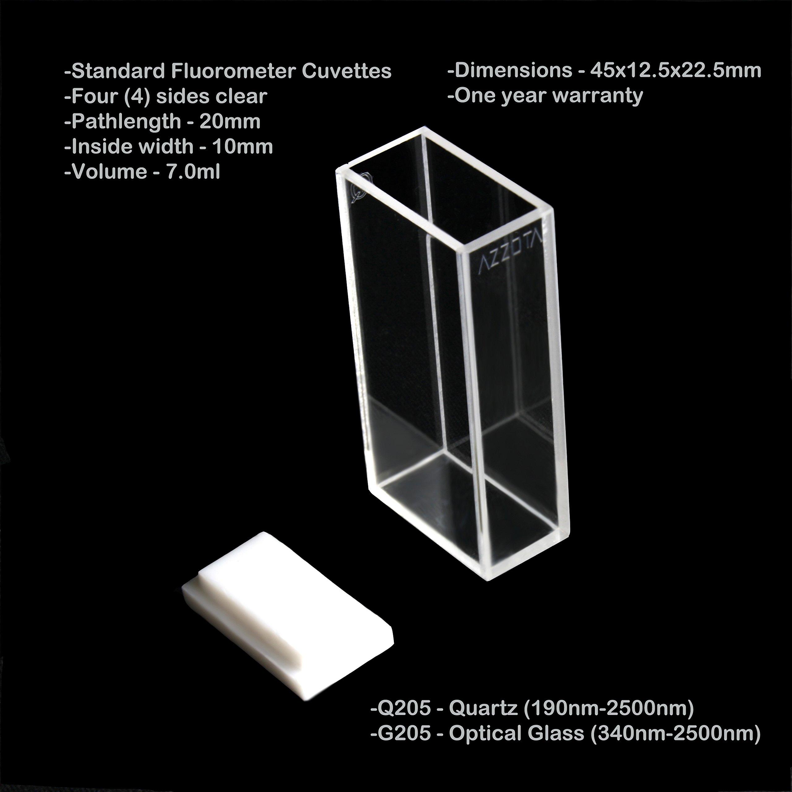 20mm Pathlength Standard Fluorometer Cuvettes - 7ml Quartz