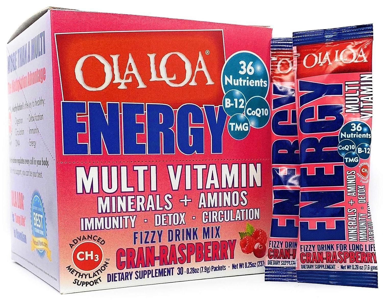 Ola Loa Energy Cran-Raspberry Multi Vitamin Drink Mix - Amino Energy Powder, Gluten Free, Detox, Dairy Free, Caffeine Free - Drink Your Vitamins for the Rigors of Daily Life - 30 Packets (8.25oz)