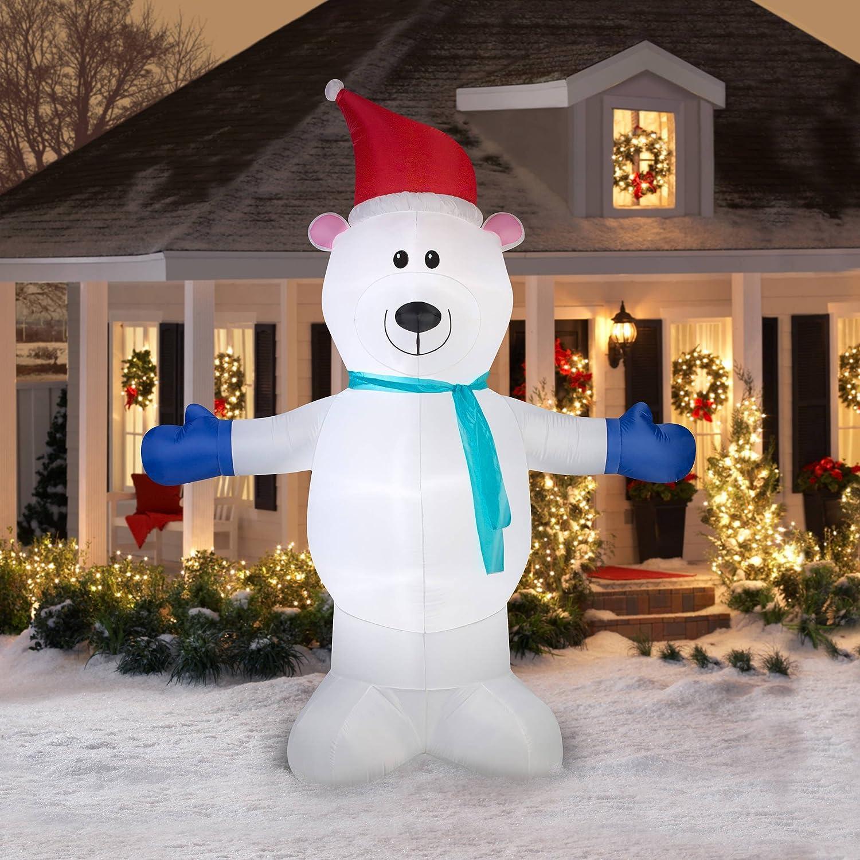 Amazoncom Gemmy Airblown Inflatable Polar Bear With Scarf, 10 Home
