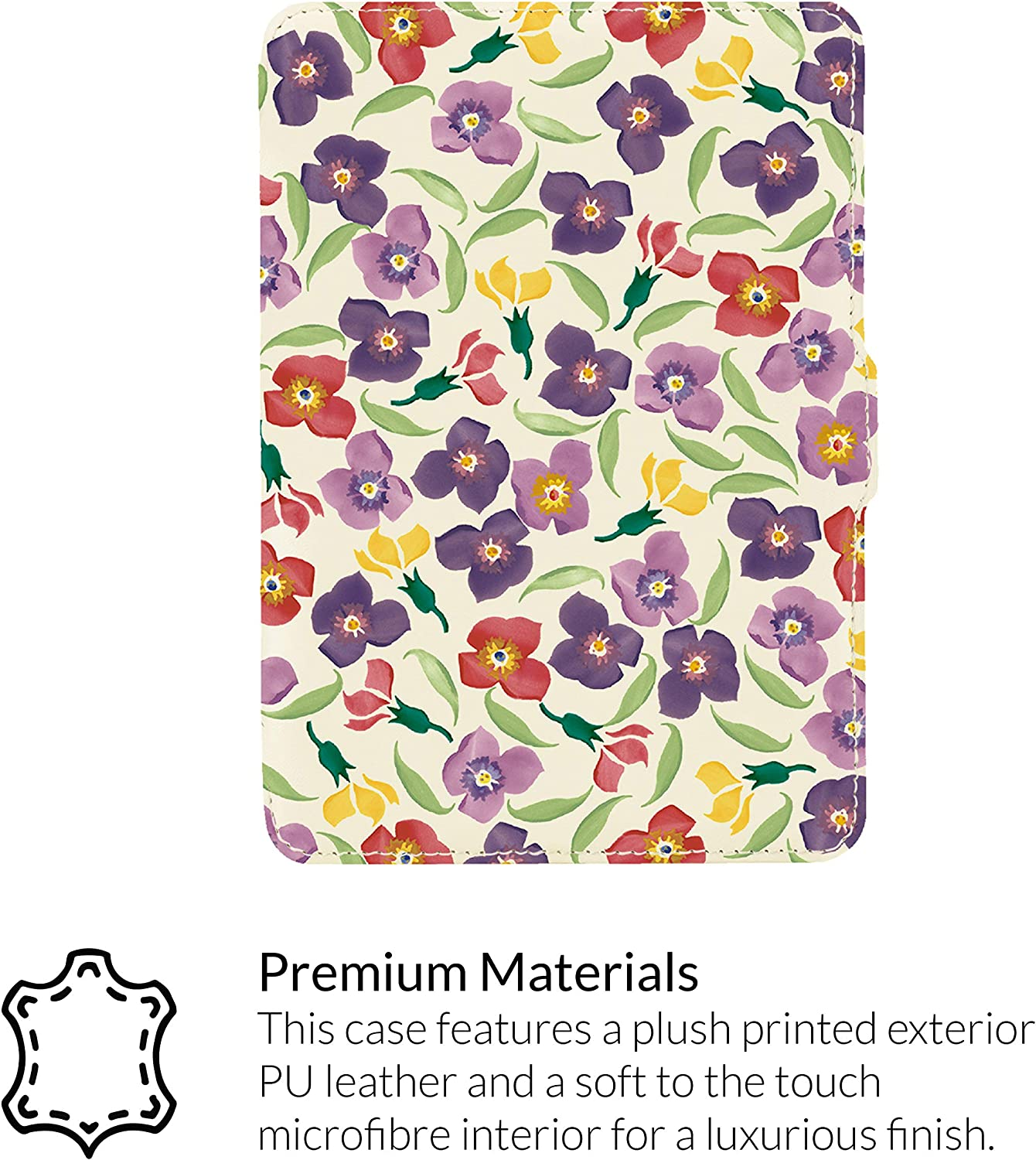 Premium PU Leather Printed Case for  Kindle Models Released before 2018 Winter Camellia Joules Kindle Case by VQ