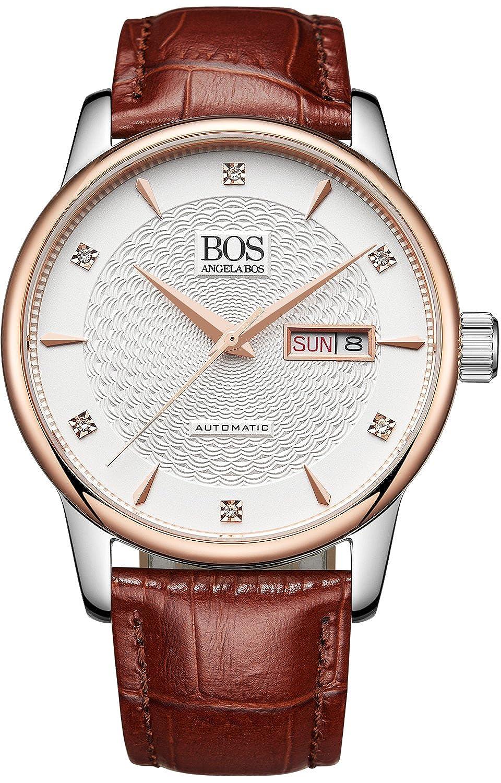 Angela Bos Herren Citizen Mechanische Bewegung Armbanduhr Braun Kalbsleder Band Weiß 9016