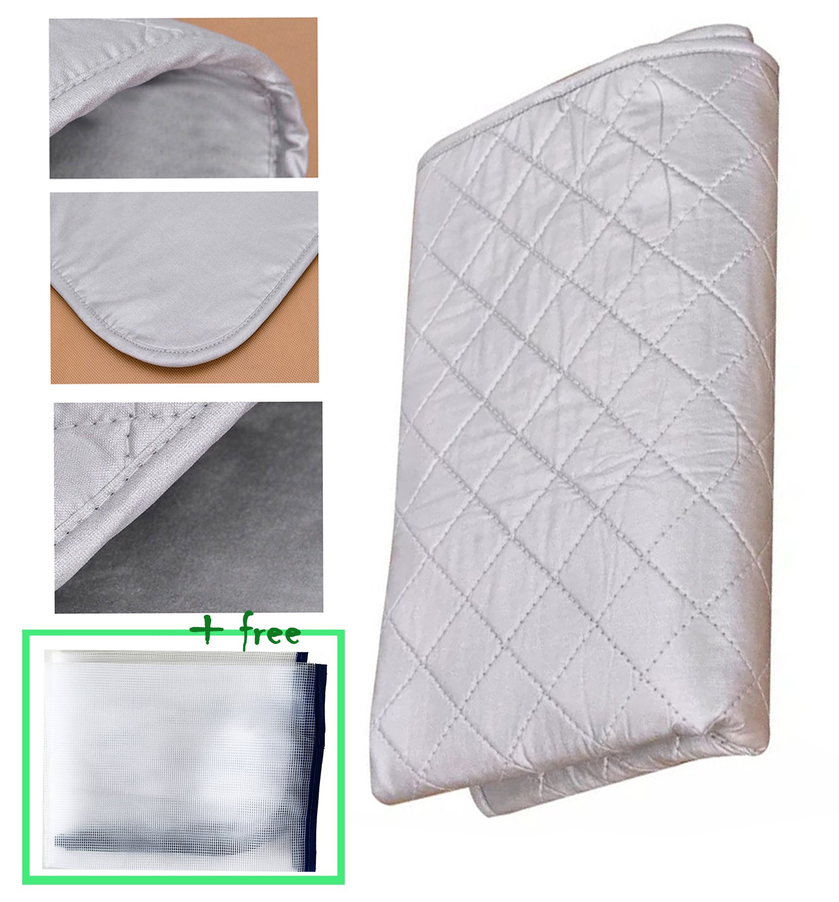 [Upgraded] Premium Ironing Blanket/Mat/Board Cover/Laundry Pad|33x18 inches|Portable &Double-side Using &Non Skid &No Shape Left| iron anywhere|Great for Travel&Home| Protective Mesh Gift Included