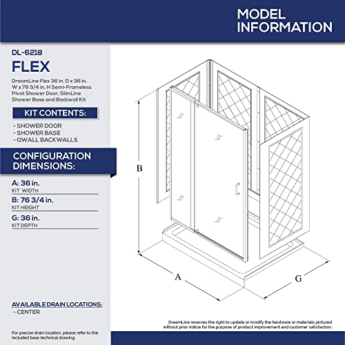 DreamLine Flex 36 in. D x 36 in. W x 76 3 4 in. H Semi-Frameless Shower Door in Brushed Nickel with White Base and Backwalls, DL-6218C-04CL