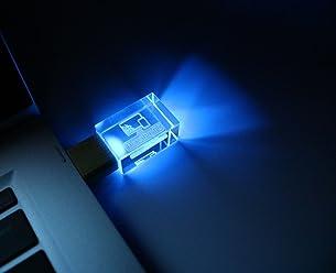Transparent Crystal USB Flash Drive 16GB 2.0 Blue LED
