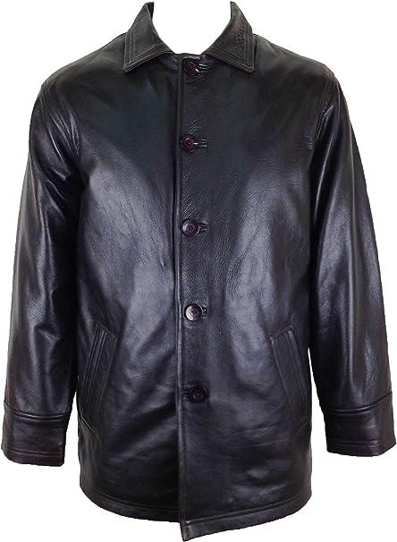 UNICORN Hombres Clásico Genuino real cuero chaqueta Abrigo ...