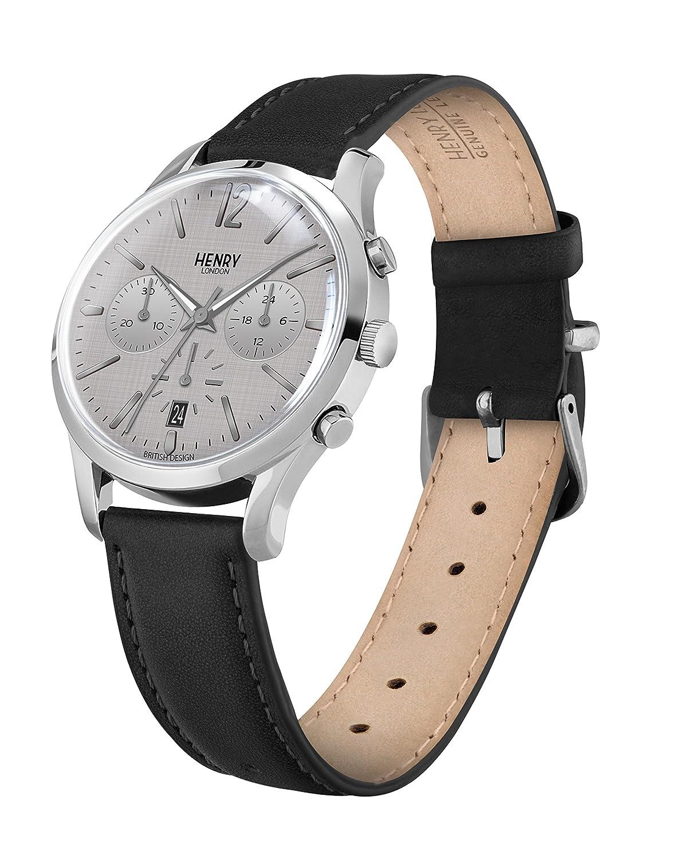 Henry London Reloj Analógico para Unisex Adultos de Cuarzo con Correa en Cuero 5018479079828: Amazon.es: Relojes