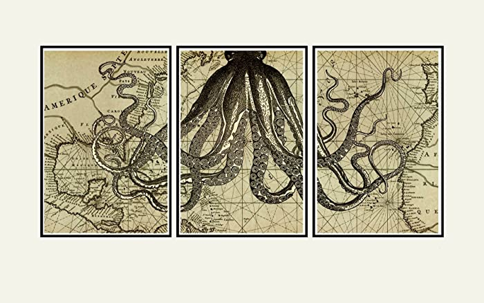 High Quality Octopus Wall Art Print, Old Map Art, Nautical Decor, Cool Artwork Vintage  Octopus