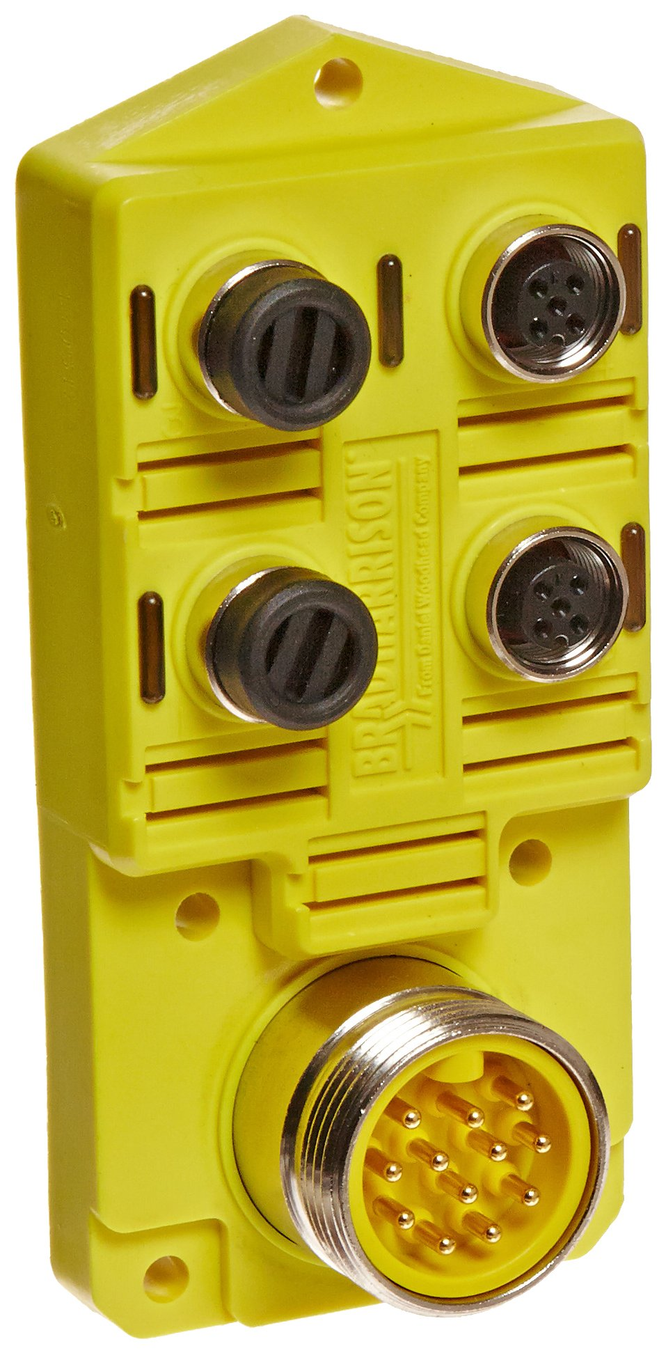 Brad BTY401N-FBB Micro-Change Top Mount Single Wired Port Distribution Box with Brad Mini-Change HR Connector, 10-30V DC Max Voltage, LED Indicator, NPN Sensor, 4 Port
