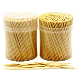 NEW NatureCore Bamboo Wooden Toothpicks - 1000 PCS, Sturdy Safe Round Clear Storage, 2 Packs of 500 Toothpicks, Party Caterin
