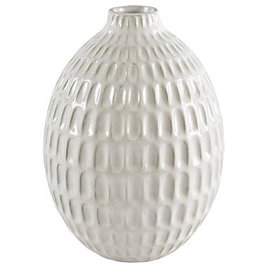 Stone & Beam Modern Oval Pattern Decorative Stoneware Vase, 8.75 Inch Height, Off-White