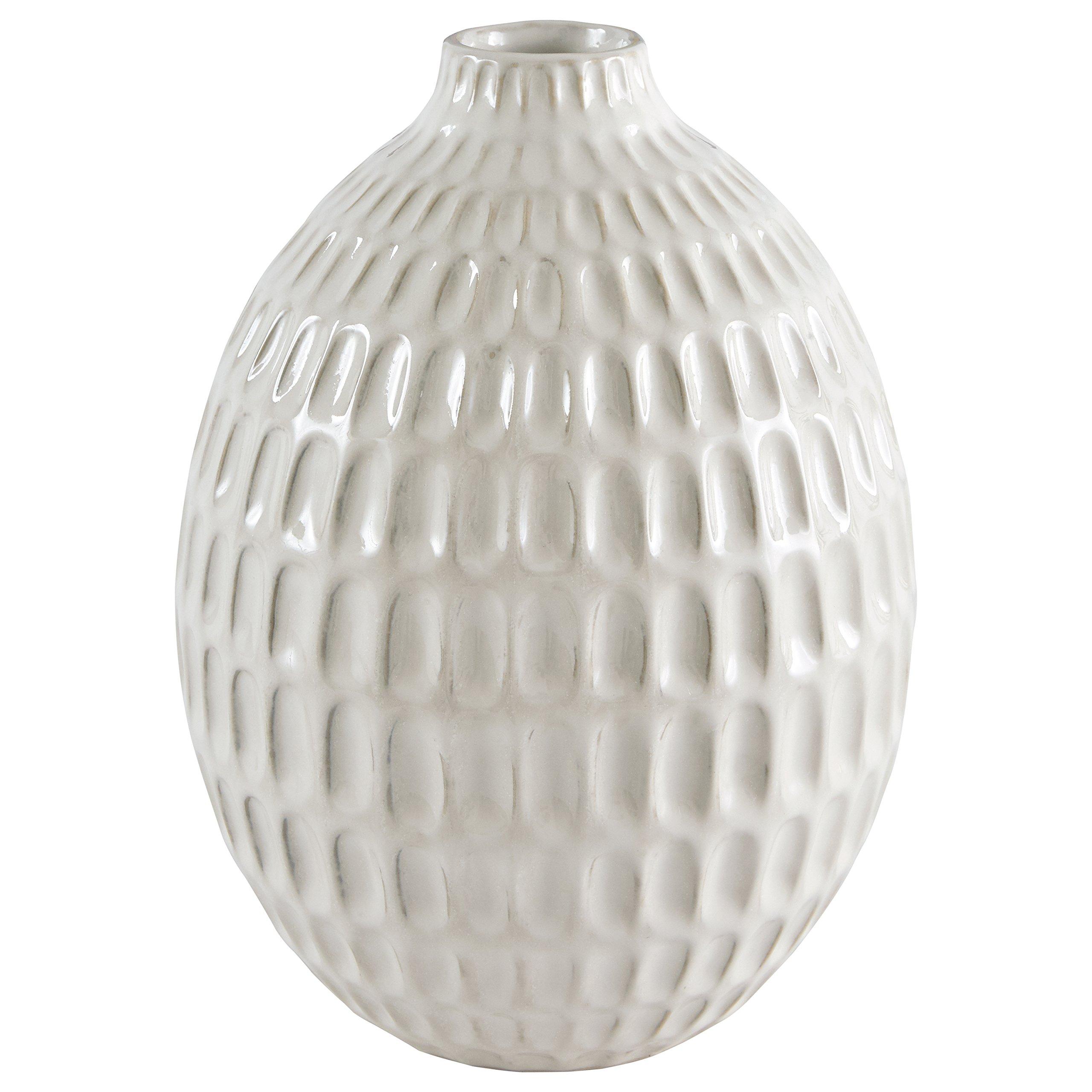 Stone & Beam Modern Oval Pattern Stoneware Vase, 8.75''H, Off-White
