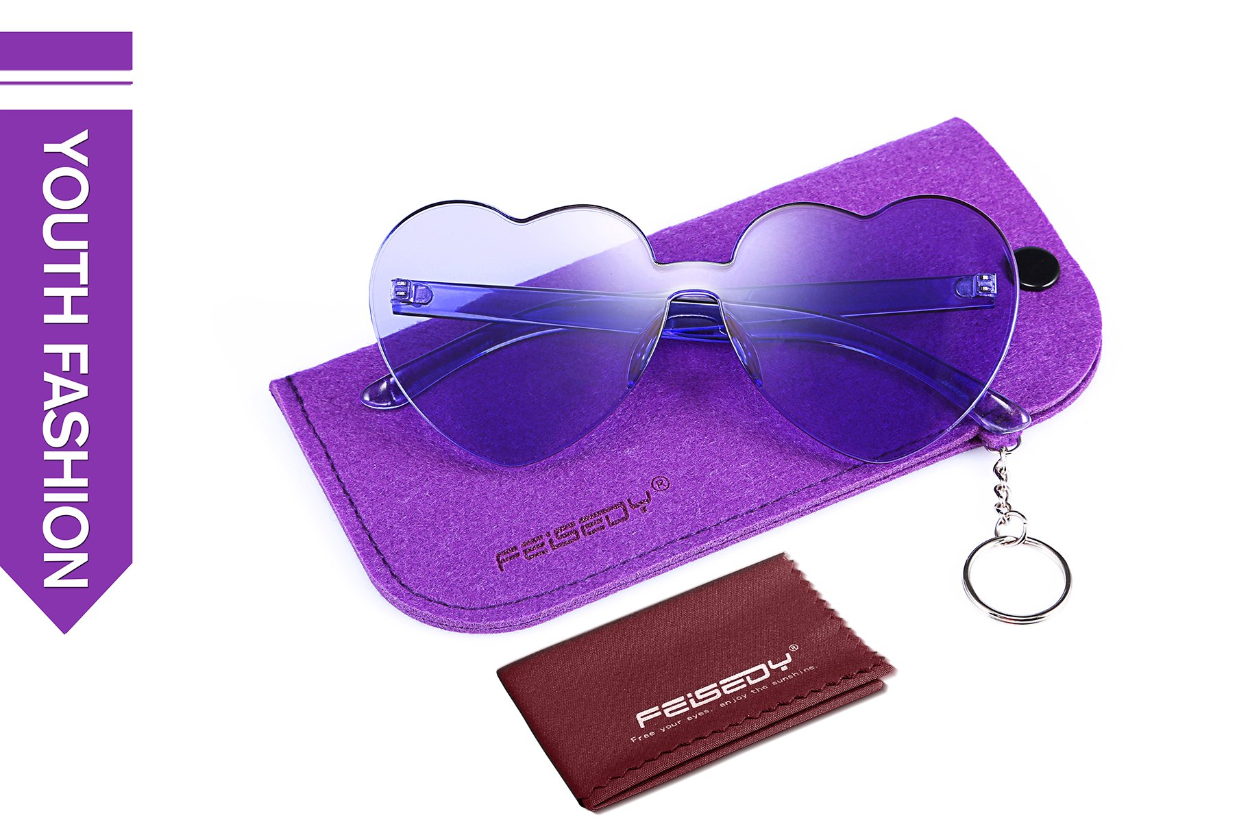 FEISEDY Heart Shaped Love Sunglasses Rimless One Piece Stylish Transparent Lens B2419 by FEISEDY (Image #4)