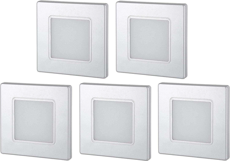 Lote de 5 focos led empotrables 230 V, cuadrados, para caja de interruptores de 60 mm, transformador LED integrado, luz blanca c/álida, 3000 K Light Design Dreesbach