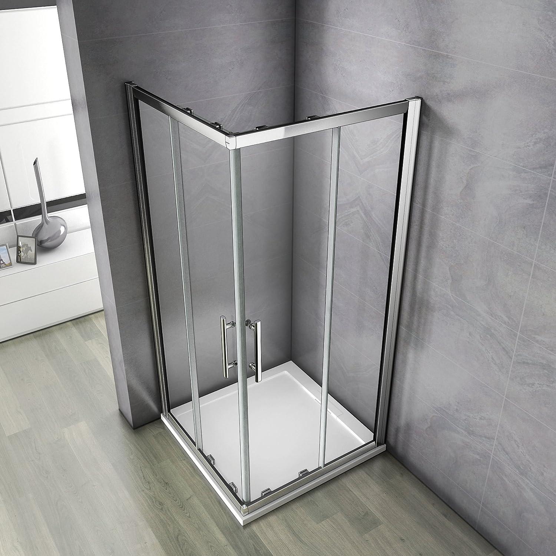 100x90x185 cm Cabine de douche Porte coulissante Paroi de douche acc/ès dangle verre s/écurit